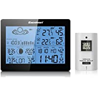 Excelvan - Estación Meteorológica Inalámbrica (Digital RCC Radio Control Reloj, Medir Temperatura °C /°F, Humedad, con Sensor, Alarma Dual)