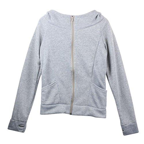 Kanpola Dame Hooded Coat Sweatshirt Jacke Pullover Encase Finger Langarm (Grau)