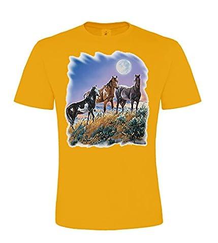 DarkArt-Designs mode de vie T-Shirt Under the Desert Moon - motif de cheval T-shirt pour enfants et adultes - motif de plaisir regular fit, Apricot, L