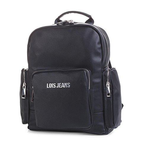 LOIS - 95036 Mochila casual de diseño. Cierre cremallera. Asa superior y tiras ajustables. Bolsillos delantero y 2 laterales. Forro estampado., Color Negro