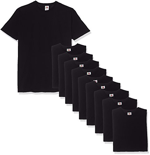Fruit of the Loom Valueweight Short Sleeve T-Shirt, Nero (Black 36), L (Pacco da 10) Uomo