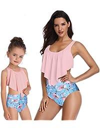 Berax 2019 mère Fille Maillot de Bain Parent-Enfant Maillot de Bain à  Volants Taille 029edc0d0a5