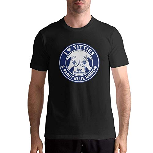 Biooker I Love Titties and Pabst Blue Ribbon Man's Trend Tshirts Athletic,Black,5XL