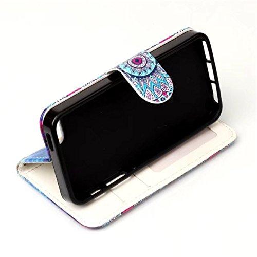 iPhone 5S Hülle, iPhone SE Hülle, Gift_Source [ Traumfänger Eule ] Magnetisch Dünn Leder Folio Flip Klapphülle Etui Schutzhülle Tasche Case mit Magnetverschluss und Kartenfächer Handy Tasche Hülle Cov E1-Eule