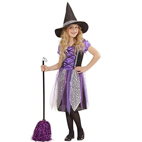 NET TOYS Kinderkostüm Hexe Hexenkleid Mädchen S 128 cm Hexenkostüm Kind Halloween Outfit Zauberin Märchenkostüm Fasching Walpurgisnacht Verkleidung