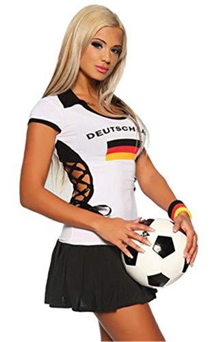 er-Kostüm,Mädchen Cheerleading Uniform Anzug Sexy Nachtclub Fußball-Basketball-Musik-Kostüm-Wettbewerb Tanz-Performance, D, Eine Größe ()