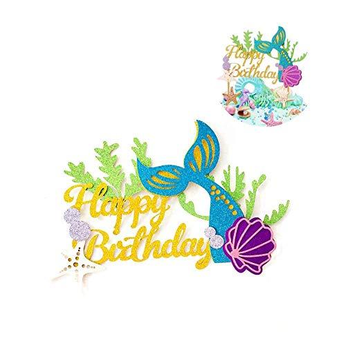 Glitzer Meerjungfrau Kuchendekoration Happy Birthday Kuchen Picks Mermaid -