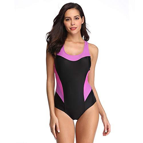 GCQBLM Frauen-Einteiler Sport Schwimmen Kostüm Athletic Badeanzug Racer Badebekleidung, Rosa, - Rosa Racer Kostüm