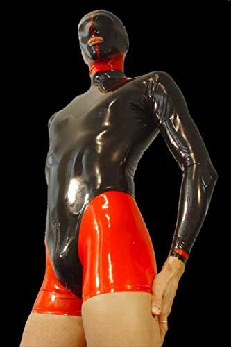 Männer Latex Catsuit Overall Maske und Shorts setzt erotische schwarze und rote Hosen erotische Cosplay-Kostüm (XS(B84 W68 H86CM))