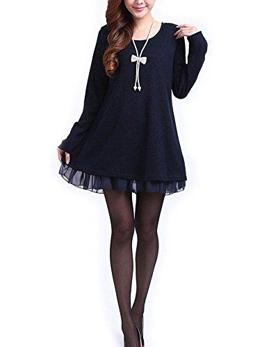 Minetom Femme Robe Manches Longues Encolure Pull Tricoter Robes De Mousseline Profondo Blu