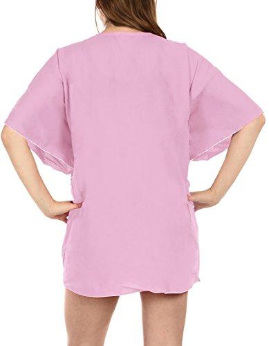 La Leela reiner Viskose tiefem V feste bikini stretchy Abdeckung nach oben Frauen Pink