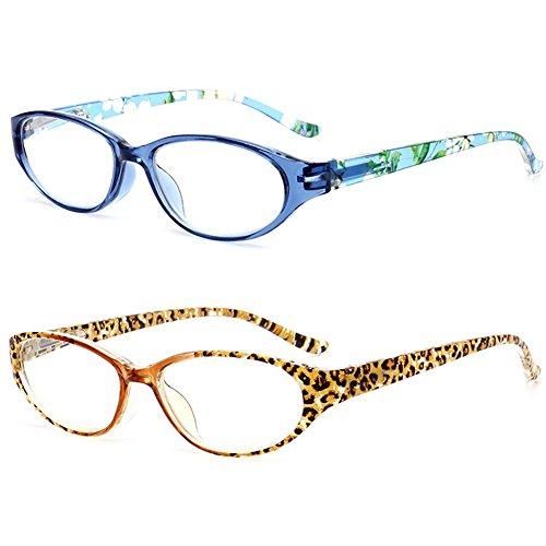 VEVESMUNDO® Damen Lesebrille Leopard Blumen Lesebrillen Lesehilfe Augenoptik Vollrandbrille Brille 1.0 1.5 2.0 2.5 3.0 3.5 4.0 (2 Stück Lesebrillen(Mehrfarbig), 1.0)