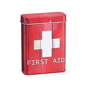 "Zeller 19233 Medizin-Box ""First Aid"", Metall, rot, ca. 26,2 x 13,8 x 8,2 cm"