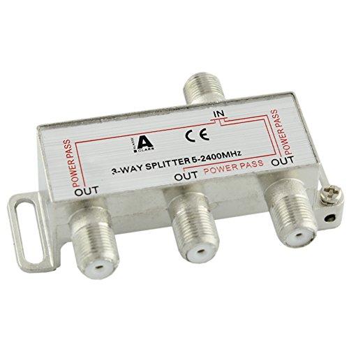 Ligawo 6552101 Sat BK Verteiler Splitter 3-Fach 5-2400 MHz mit DC Durchlass