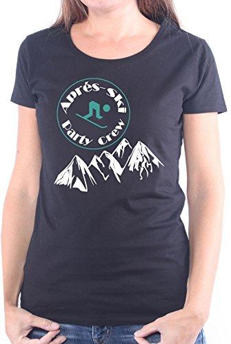 Mister Merchandise Ladies Damen Frauen T-Shirt Apré Ski - Party Crew Tee Mädchen Bedruckt Schwarz, M
