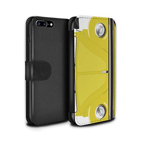 Stuff4 Coque/Etui/Housse Cuir PU Case/Cover pour Apple iPhone 7 Plus / Rayures Course Design / Rétro Coccinelle Collection Rallye Jaune