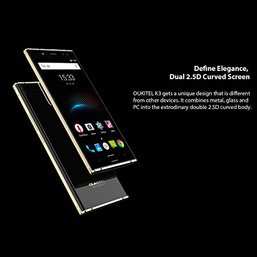 OUKITEL K3 - Pantalla FHD de 5 5 pulgadas Android 7 0 4G smartphone  4 c  maras  2MP   16MP c  mara frontal  2MP   16MP c  mara trasera   6000mAh bate