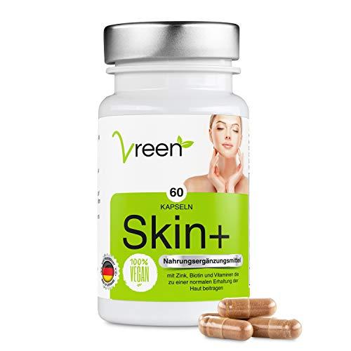 Skin+ Haut Vitamine • OPC (hochdosiert), Zink, Biotin, Vitamin C und Vitamin A • 60 Kapseln für Männer und Frauen • 100% Vegan • Deutsche Qualität