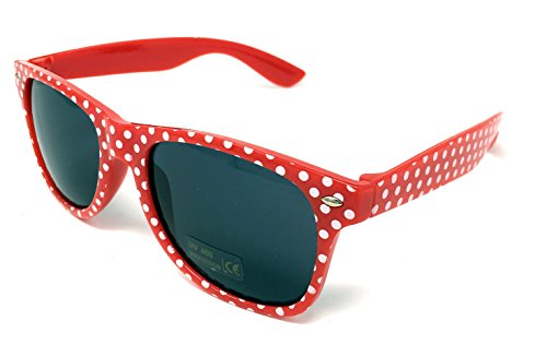 Panelize® Polka-Dot Rockabilly Brille Sonnenbrille Accessoires rot weiß gepunktet 50er Jahre Retro ()