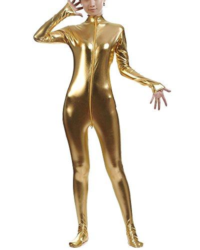 ug Suit Kostüm Shiny Ganzkörperanzug Kostüm Gelb L (Einfaches Schminken Halloween)