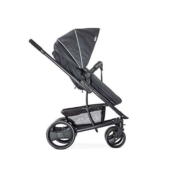 Hauck Pacific 4 Shop N Drive, Lightweight Pushchair Set with Group 0 Car Seat, Carrycot Convertible to Reversible Seat, Footmuff, Large Wheels, From Birth to 25 kg, Melange Charcoal Hauck  5
