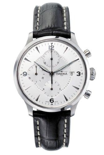 Davosa Herren Armbanduhr Automatik mit Silber Zifferblatt Chronograph-Anzeige und schwarz Lederband 16147614