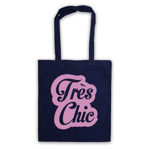 Tres Chic francese Slogan Tote Bag Blu navy