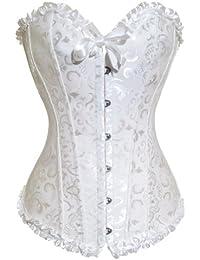 Aimerfeel de satin blanc (ivoire) de dentelle vintage le corset désossée G-string