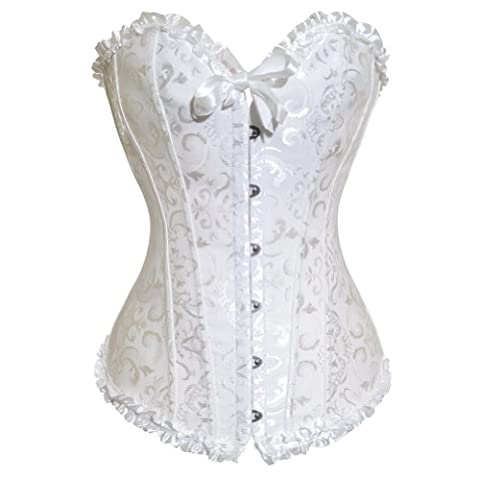 Satin White Vintage Lace Up Boned Corset Basque/G-String, Size L(10-12), makes you look glamorous!