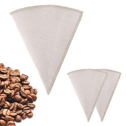 Earthtopia 3er Set Wiederverwendbare Kaffeefilter aus Stoff | 100% Hanf | Permanentfilter...