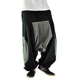 virblatt pantalones cagados de alta calidad corte suelto para hombres y mujeres como ropa hippie y pantalones bombachos estilo harem M - XL – Ausleben XXL