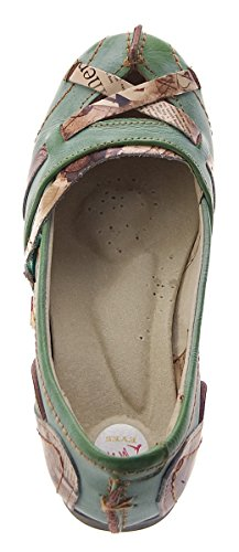 TMA Leder Damen Ballerinas Echtleder Sandalen Comfort Schuhe TMA 5088 Slipper bunt Gr. 36 - 42 Grün