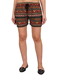 9teenAGAIN Women's Rayon Printed Nightwear Shorts(Multicolor)