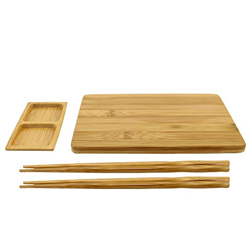 bamboomn wiederverwendbar Bambus Sushi Servierbrett Set-1Sushi Board, 2Sets Essstäbchen, 1Sushi Dip Tablett Carbonized Brown Bambus Sushi-board