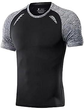PDFGO Hombres Camisetas Mangas Cortas Fitness Medias Deporte Entrenamiento Secado Rápido Compresión Absorción...