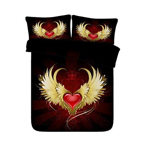 Angel Wings Bettbezug Set Love Heart Quilt Tröster Cover 3PCS Bettwäsche Set mit 2 Kissen Shams Mädchen Tagesdecke Bett Set Rot Gold Schwarz Goldene Bettdecke (größe : King) -