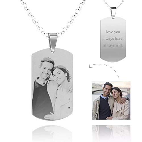WINNICACA Edelstahl Personalisierte Erkennungsmarken Halskette Custom Gravierte Foto Anhänger Halskette Schmuck für Frauen Mädchen Geschenke, Unisex