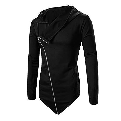 Men Jackets Longra® AUTUMN WINTER MEN *Medium Hooded Coat TOP Blouse*Tilt Zipper Design (Black, XXL)