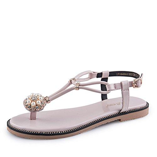 Summer,Plat,Sandale Thong/Lady,Talon Plat,Chaussures à Semelles Fines C