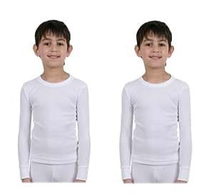 Pack of 2 - Kids/Boys Thermal Underwear - Long Sleeved Vest - White