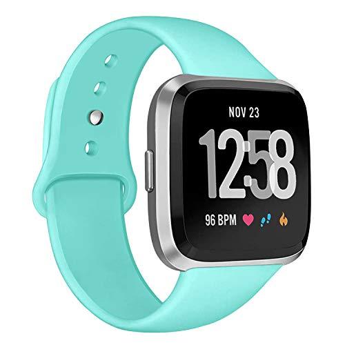 Deilin Armband für Fitbit Versa/Fitbit Versa Lite für Damen und Herren, Silikon Sport Armband Weiches Verstellbares Armband für Fit bit Versa Smartwatch (Teal, S)