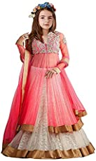 TILUDI Girl's Net and Brasso Salwar Suit (EW0029_K_SALWAR SUIT_Pink_8-12 Year)