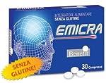 integratore alimentare per mal di testa frequenti .30 compresse. COS'É EMICRA E QUANDO SI USA EMICRA è un integratore naturale completo studiato per il problema del mal di testa, l'emicrania. E' da considerarsi non solo un prodotto naturale da utiliz...