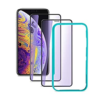 aceyoon compatible for iPhone XR 6.1 inch Anti-Blue Light Tempered Glass Eye Protection 2 Pack Anti-Glare Screen Protective Film 3D Touch Full Cover 9H Hardness Scratch Resistant with ALIGNMNET Tool