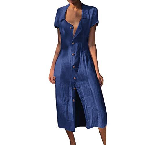 Likecrazy Sommerkleid Damen Sommer Leinenkleid V-Ausschnitt Lange MaxiKleid Casual Long Dress Mode Frauen Strandkleider Button down Dress Houndstooth Swing