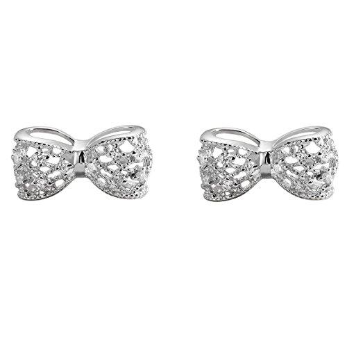 Ohrstecker Sterling Silber Zirkonia Ohrringe Schleife für Frauen