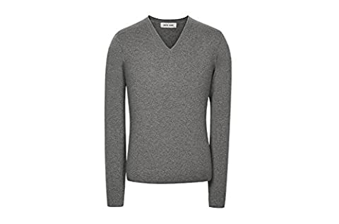 YIJIA Men's Casual V-Neck Long Sleeve Sweater Winter Cashmere Knitted Pullovers Puls Size DarkGrey L Size