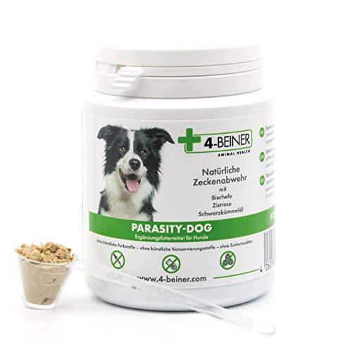 4-Beiner PARASITY-DOG - natürliche Zecken Abwehr, Zeckenschutz für Hunde mit Bierhefe, Zistrose und Schwarzkümmelöl, viele natürliche Vitamine & Mineralstoffe für den Hund, 80 g Pulver