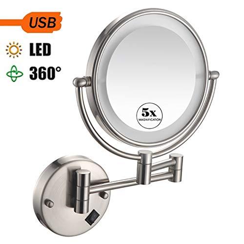 NMRCP Espejo de Maquillaje con luz led y Aumento de 5X, Espejo de Maquillaje de Doble Cara Plegable...
