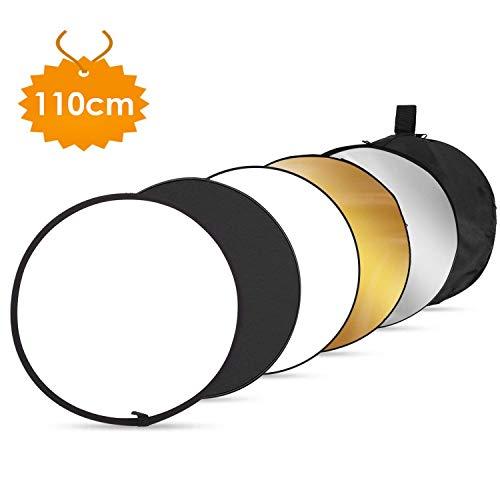 Amzdeal 5in1 Faltreflektor-Set (Ø110CM) Reflektor Diffusor gold/silber/weiß/schwarz/transparent für Fotografie Studio